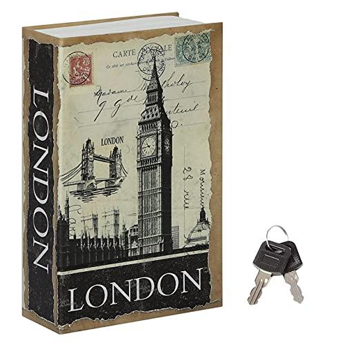 Jssmst Diversion Book Safe with Key Lock, Secrect Hidden Safe Lock Box Large Money Box High Capacity, 9.5 x 6.2 x 2.2 inches, SM-BS019LN London Bridge