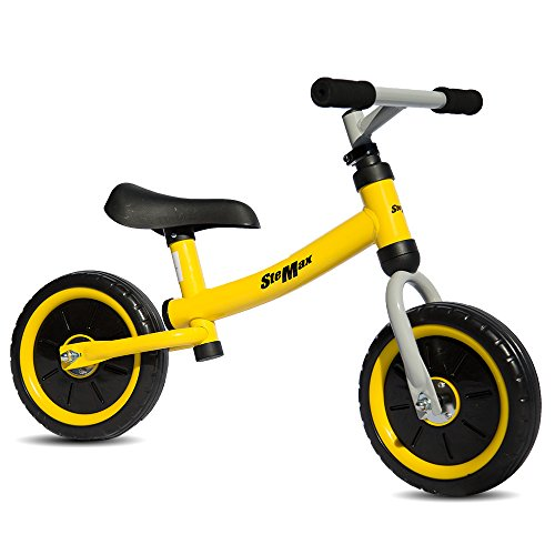 "Stemax Original 10""Ultra lite Balance Bike no Pedal with Adjustable Handlebar and Seat. Perfect for Toddlers and Children Age 2-4 and up to 55 lbs. Develops Balancing, Steering and Breaking Skills."