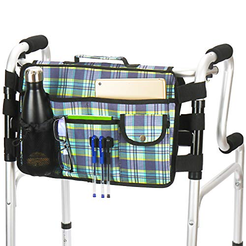 Walker Bag - Double Side Walker Tote Folding Walker Basket Caddy Pouch with Large Compartment and 9 Pockets.(Colorful-Blue)