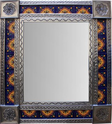 Fine Crafts Imports Medium Brown Concha Tile Mexican Mirror