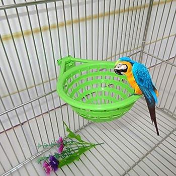 POPETPOP 5pcs en Plastique Canary nid-nid en Plastique Creux Suspendus Cage Oeufs à couver Outil pan Finch Perroquet canari Pigeon nid Bol
