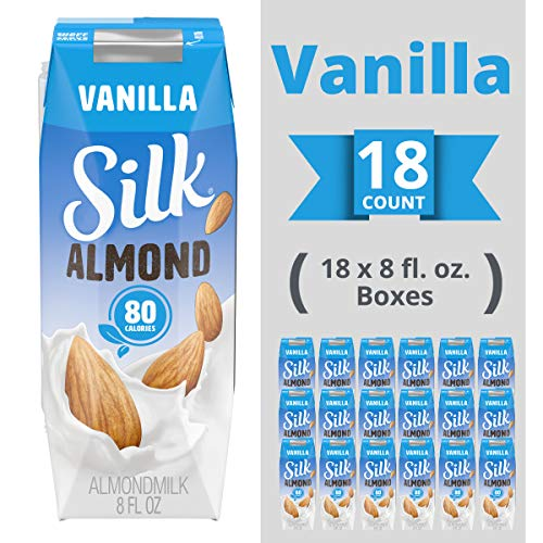 Silk Shelf-Stable Almondmilk Singles, Vanilla, Dairy-Free, Vegan, Non-GMO Project Verified, 8 oz., 6 Pack (Pack of 18)