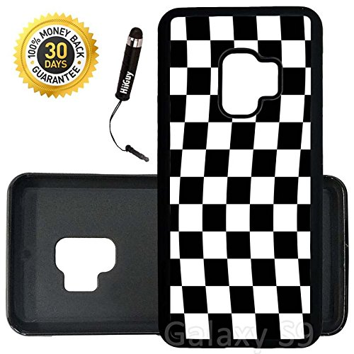 Custom Galaxy S9 Case (Checkered Flag Finish Line) Edge-to-Edge Rubber Black Cover Ultra Slim | Lightweight | Includes Stylus Pen by Innosub