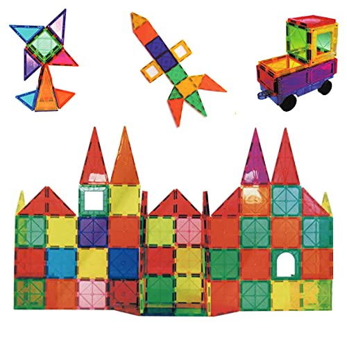 Magnetic Tiles for Kids, Congshin Colorful Clear Magnetic 3D Building Blocks Set with a Car,...