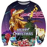 Goodstoworld Maglia Dinosauro Natale Maglione 3D Felpa Uomo Donna Funny Ugly Christmas Elfo Animali Stampato Pullover T-Shirt