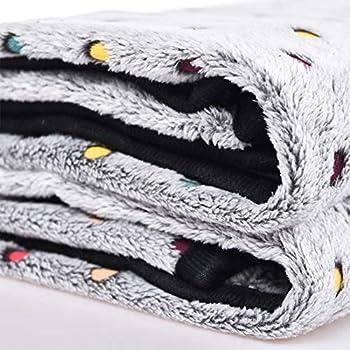 Tapis Couverture Chien Motif Pois Toison Velours Corail Moelleux Peluche Epais Chaud Hiver Mignon Lavable Chiot Chat Animaux Compagnie (S(76 x 52cm), Gris)