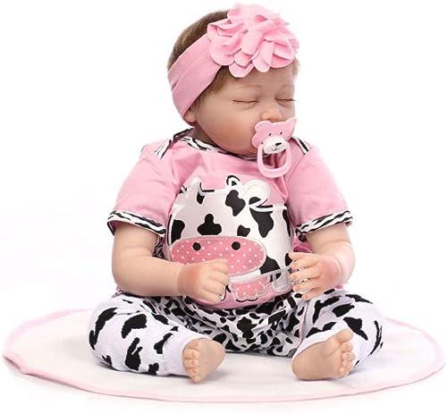 Babypuppe, Reborn Baby-Puppe Weiß Simulation Silikon Vinyl 55cm Magnetisch Mund lebensechte Boy Girl Junge mädchen Spielzeug