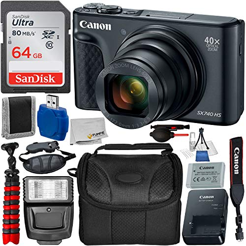 Ca Canon Powershot Sx740 Hs Digital Camera Black 2955c001 With Deluxe Accessory Bundle Includes Sandisk Ultra 64gb Memory Card Digital Slave Flash Carry Case 12 Gripster Much More From Amazon