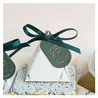 gis ギフトボックス緑の三角ピラミッド大理石のキャンディーボックスの結婚式の好意とギフトパッキングチョコレートボックスパーティー用品 (Color : Green, Gift Bag Size : 72x72x80mm)