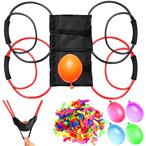 2 Pieces Water Balloon Launcher 500 Yard with 500 Balloons, 2-3 Person Balloon Giant Sling T-shirt Launcher, Party Game Courtyard Toys for Water Sports, Swimming Pool Outdoor Summer