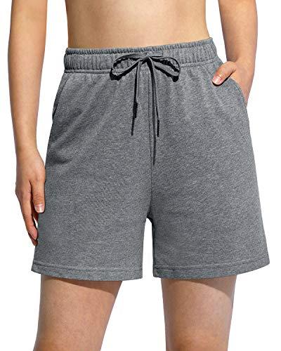 G4Free Women's Cotton Workout Shorts Walking Lounge Elastic Waist Drawstring Yoga Sweat Shorts for Women with Pockets(Deep Grey,XL)
