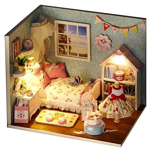 Hearthrousy DIY Puppenhaus Miniatur Haus Selber Bauen Zum Basteln Zubehör Holz Lernspielzeug Spielzeug Kinder 3D Rosa Romantische Prinzessin mit LED Lichtern