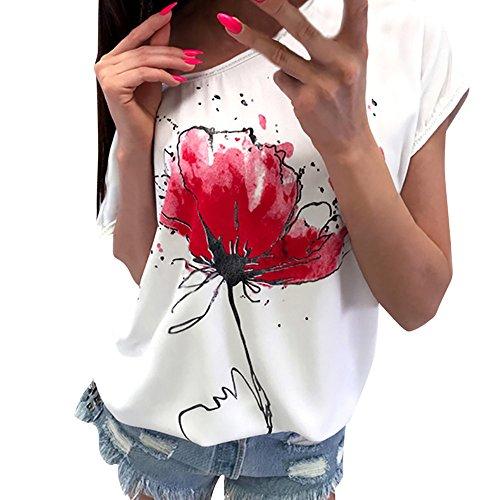 OVERDOSE Frauen Kurzarm Blumen Pumps Gedruckt Tops Strand Beiläufige Lose Bluse Top T-Shirt (EU-38/CN-M, X-a-Weiß)