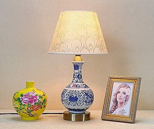 YMLSD Lámparas de Escritorio, Lámpara de Mesa de Porcelana Cerámica Lámpara de Pie Lindo Diseño Pequeño Libro Libro Luz Exquisita Pintado a Mano Mini Flor Flor Oriental Decoración para la Mesa de Toc
