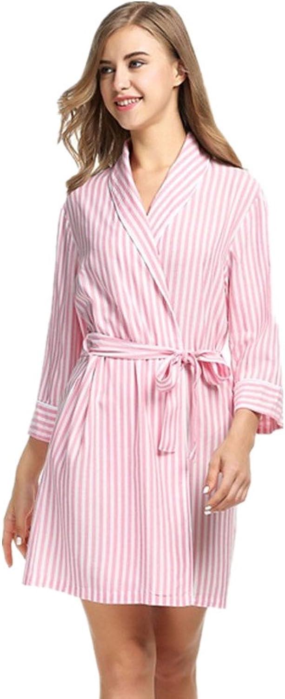 Bobbycool Striped Pajamas Pajamas Sexy Robe Woman Leisure Homewear