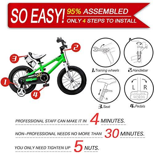 RoyalBaby Kids Bike Boys Girls Freestyle BMX Bicycle with Training Wheels Kickstand Gifts for Children Bikes 16 Inch Green