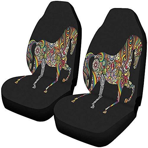 Paard Mandala Bloem Ornament Auto Voorstoel Set van 1, Auto Stoelhoezen voor SUV, Auto, Vrachtwagen, Sedan, Minivan