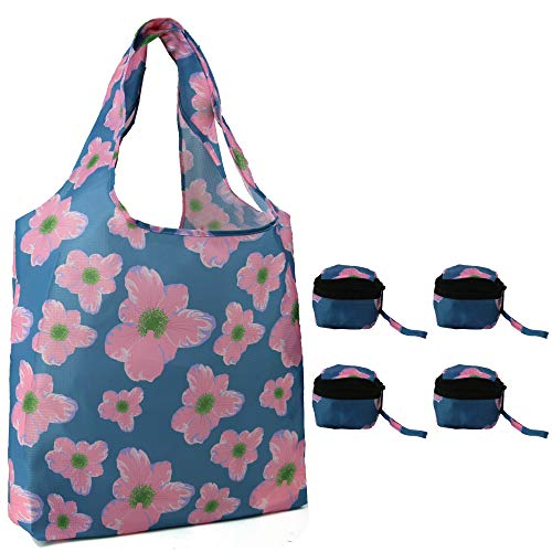 Grocery Bags Reusable Foldable Bulk 4 Pack Flower Pattern Shopping Totes for Groceries Folding into Zipper Pocket Machine Washable Heavy Duty Cloth Shopping Bags Ripstop Reusable Bags for Shopping