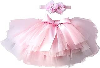 YONKINY Baby Mädchen Tutu Rock Prinzessin Tüllrock Minirock Baby Fotoprops Reifrock Ballettrock für Fotografie Geburtstag  Stirnband