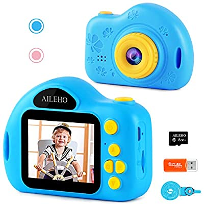 AILEHO Kids Camera for Girls Birthday Holiday Children Digital Video Camera for Kids Age 3 4 5 6 7 8 9 Years Old Toy Gifts Toddler Camera 8M 1080P 8GB Card Mini Toy Camera from AILEHO