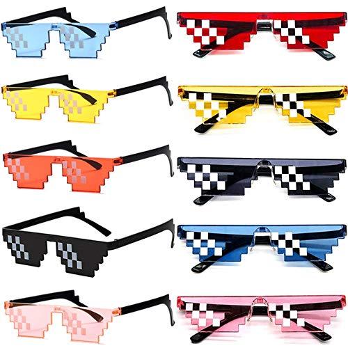 10 Pack Thug Life Brille, Pixel Mosaik Gamer Mlg Party Sonnenbrille,Coole 8 Bit Pixelated Lustige Brillen Für Erwachsene Und Kinder,Mixen