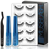 MUSELASH Upgraded Magnetic Eyelashes and Magnetic Eyeliner Kit, 2 Tubes of Magnetic Eyeliner, 5 Pairs 3D Magnetic Eyelashes Reusable Natural Styles (5 Different styles),No Glue Needed