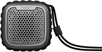 Photron P10 Wash IPX5 Waterproof Shockproof Wireless 10W RMS Super Bass Mini Metal Aluminium Alloy Portable Bluetooth Speaker with Mic (Black)