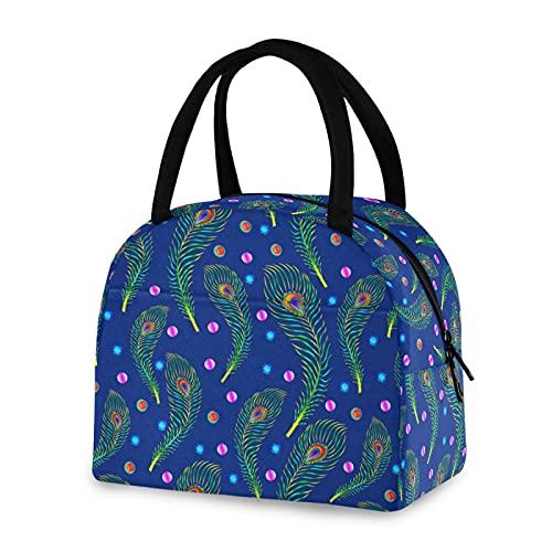 Bolsa de almuerzo reutilizable aislada colorida pluma de pavo real nevera caja para hombres y mujeres trabajo picnic o viajes