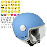 CGM Havana Smile, Casco Bambino Junior Demi Jet Moto Scooter, Azzurro Opaco, YM (51-52cm)
