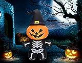 FENWOOH 4.9ft Halloween Inflatable Skeleton Body with Pumpkin Decorations, Outdoor Halloween Blow Up Decorations LED Lights, Inflatables for Halloween Outdoor Yard Decoration