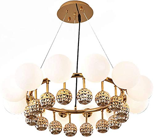 Tiners Nordic 8 Lamp Chandelier Lighting, Golden Glass Ball Adjustable Chandelier, Modern G9 Ring Ceiling Light