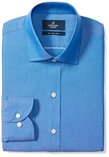 """Marchio Amazon - BUTTONED DOWN, camicia elegante da uomo, classica, slim fit, colletto con bottoni, tinta unita, in cotone Supima, non necessita di stiratura, Blu (french blue), 16"""" Collo 32"""" Manica"""