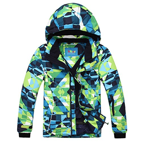 PHIBEE Big Boy's Waterproof Breathable Snowboard Ski Jacket (Print, 8)