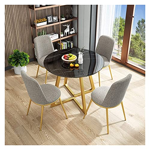 Round Dining Table And Chair Set, 5-Piece Modern Vintage Home Table Chair Round Negotiating Combination Simple Reception Leisure Coffee Sofa Seat Office ,Used For Living Room And Kitchen Rest, etc.