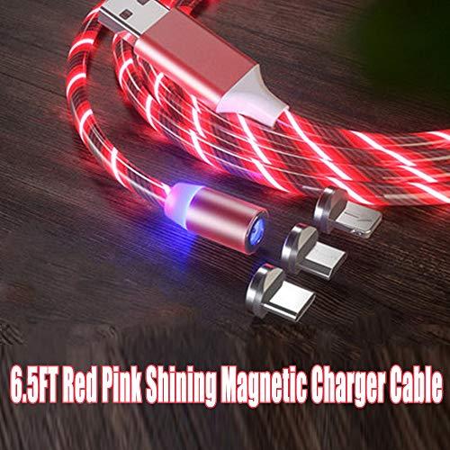 Le tide 6.5FT LED fließende magnetische Ladekabel leuchten Candy Moving Shining Ladegerät Telefon Ladekabel magnetische Streamer Absorption USB Snap Quick Connect 3 in 1 USB-Kabel