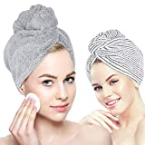Laluztop Hair Towel Wrap for Women, Ultra Soft Hair Drying Towels with Button, Anti Frizz Super Absorbent & Quick Dry Hair Turban for Drying Curly, Long & Thick Hair(2 Pack)