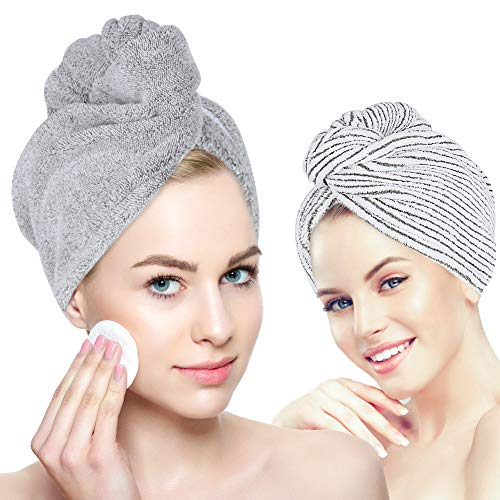 Laluztop Organic Bamboo Hair Towel Hair Drying Towel Turban Wrap with Button, Anti Frizz Absorbent & Soft Bath Cap for Curly, Long Thick Hair(2 Pack)