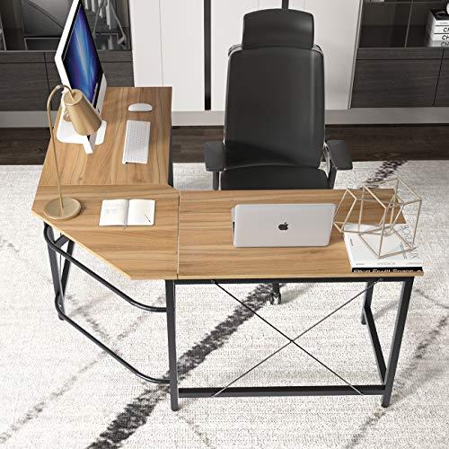 DlandHome L Scrivania del Computer 150 CM + 150 CM Ufficio a casa PC Portatile Workstation di Studio Tavolo angolare con Supporto CPU, Quercia & Nero DEU-LD-Z01-OKBN