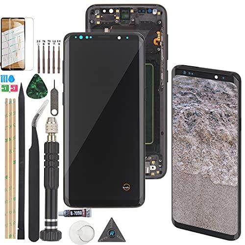 RongZy LCD Schermo per Samsung Galaxy S8 G950F Display Digitizer Assembly Vetro di Ricambio Touch Screen con Strumenti(Nero con Cornice)