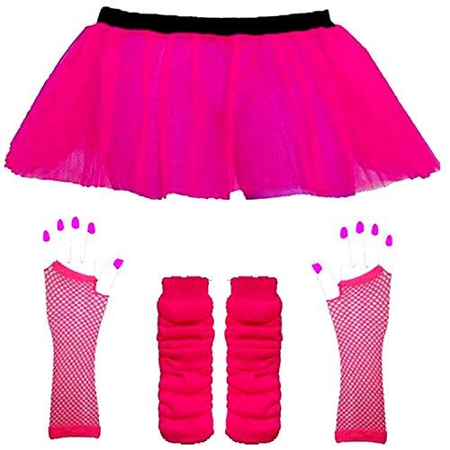RB Fashions Déguisement des années 80 pour adulte avec mini-jupe/jambières/gants en résille/collier de perles Rose fluo