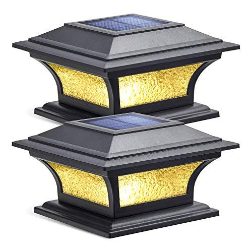 Siedinlar Solar Post Lights Outdoor Glass LED Fence Cap Light 2 Modes for 4x4 5x5 6x6 Posts Deck Patio Garden Decoration Warm White/Cool White Lighting Black (2 Pack)