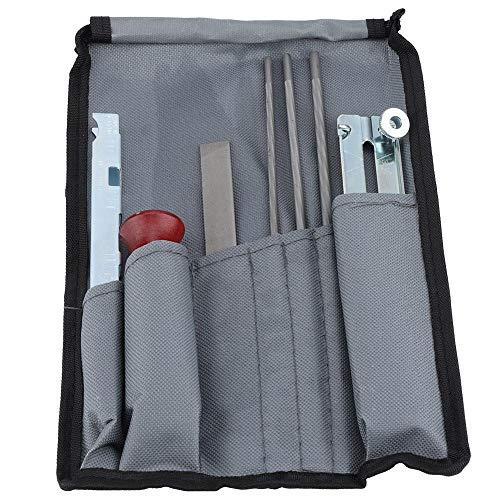 Chainsaw Sharpener File Kit, 8 Piece Sharpening Set with Portable Bag, File Board, File Handle, Round Files, Flat File, Depth Gauge Tool