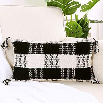 Amazon - Save 70%: Ailsan Buffalo Check Throw Pillow Covers with Tassel 12 x 20 Inch Farmhouse Black a…