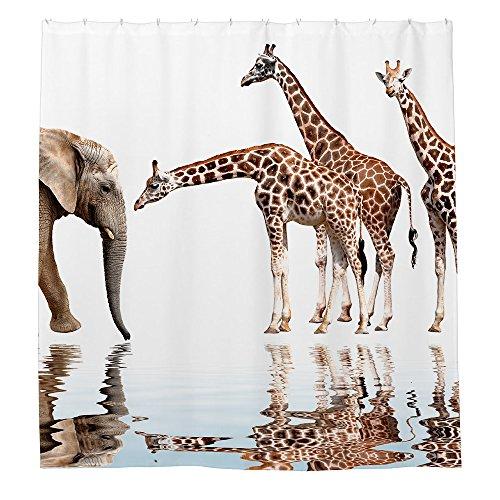 Duschvorhang Elefant Giraffe Polyester 180cm x 180cm(ca.72