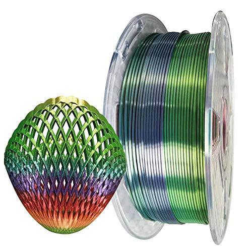 Filamento PLA 1,75 mm seta multicolore arcobaleno seta brillante 3D materiali di stampa, colore sfumato metallizzato 1 kg (1 kg) per stampanti e penne 3D
