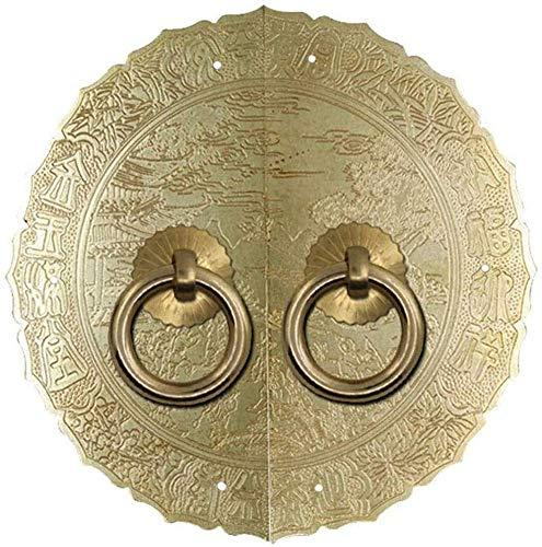 HAOJON Llamador de puerta de latón, resistente, decorativo antiguo, ideal para estanterías, armarios, ventanas, tornillos negros, diámetro: 18 cm