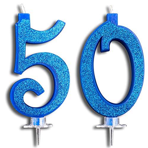 Party & Co. Bougies pour gâteau 50 ans, fête d'anniversaire ou anniversaire, idéales pour homme et femme, 12 cm bleu pailleté
