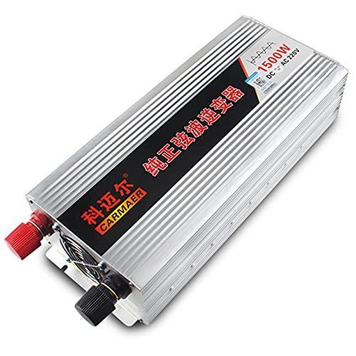 WOCTP Inversor de Onda sinusoidal Puro 1500W, convertidor de Voltaje DC 12V / 24V / 48V / 60V a AC 220V, inversor de energía Solar con Pantalla LCD y Puertos USB para Cami 1500W60V
