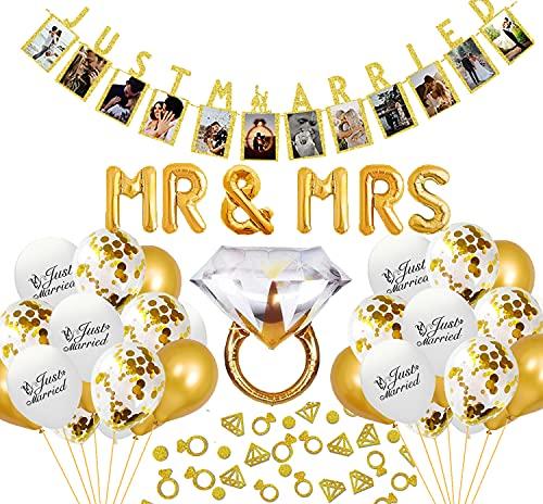 Just Married - Juego de decoración de boda, guirnalda de fotos dorada Just Married, guirnalda de fotos con globos, anillos y confeti, decoración para novios con lentejuelas