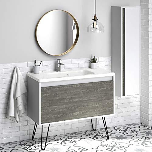 40' Bathroom Vanity Cabinet + Legs + Ceramic Sink | Tribeca Fs | W 40 X H 35 X D 18 in Wf446 Charred